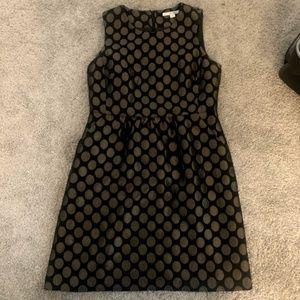 Boden Shift Dress Black & Brown Polka Dot Cotton